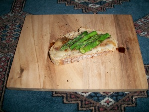 Balsamic Asparagus Crostini with Port Salut